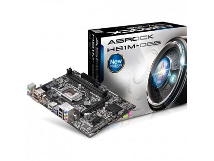 Asrock Intel 1150 H81M-DGS R2.0 , 2xDDR3, GLAN, USB 3.0, VGA, DVI, mATX
