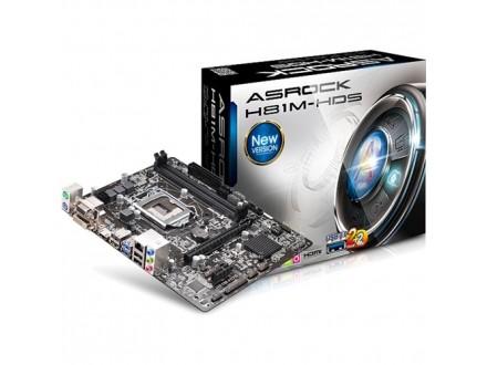 Asrock Intel 1150 H81M-HDS , 2xDDR3, GLAN, USB 3.0, VGA, DVI, HDMI, mATX