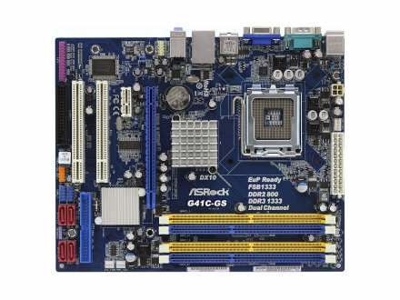 Asrock Intel 775 G41C-GS, DDR2 + DDR3, Gigabit LAN, RS232, VGA X4500