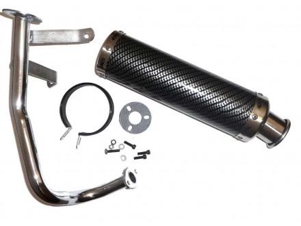 Auspuh GY6 50cc , 88 x 300mm ( karbon sa hromiranom cev