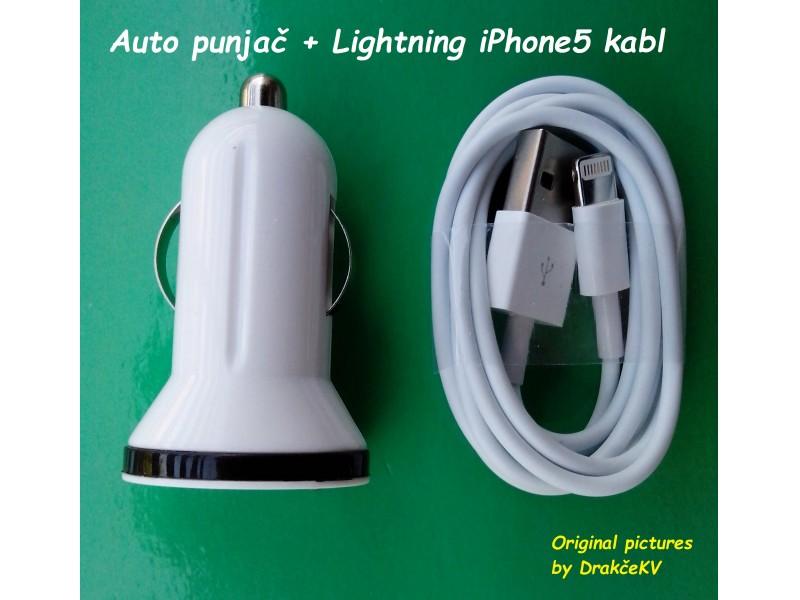 Auto punjač + Punjač + kabl za iPhone5 iPad4...
