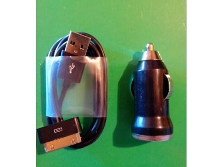 Auto punjač + iPhone 4G/4GS kabl
