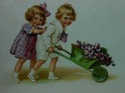 BOY AND THE GIRL WITH FLOWERS IN BUGGY /XVI-188/