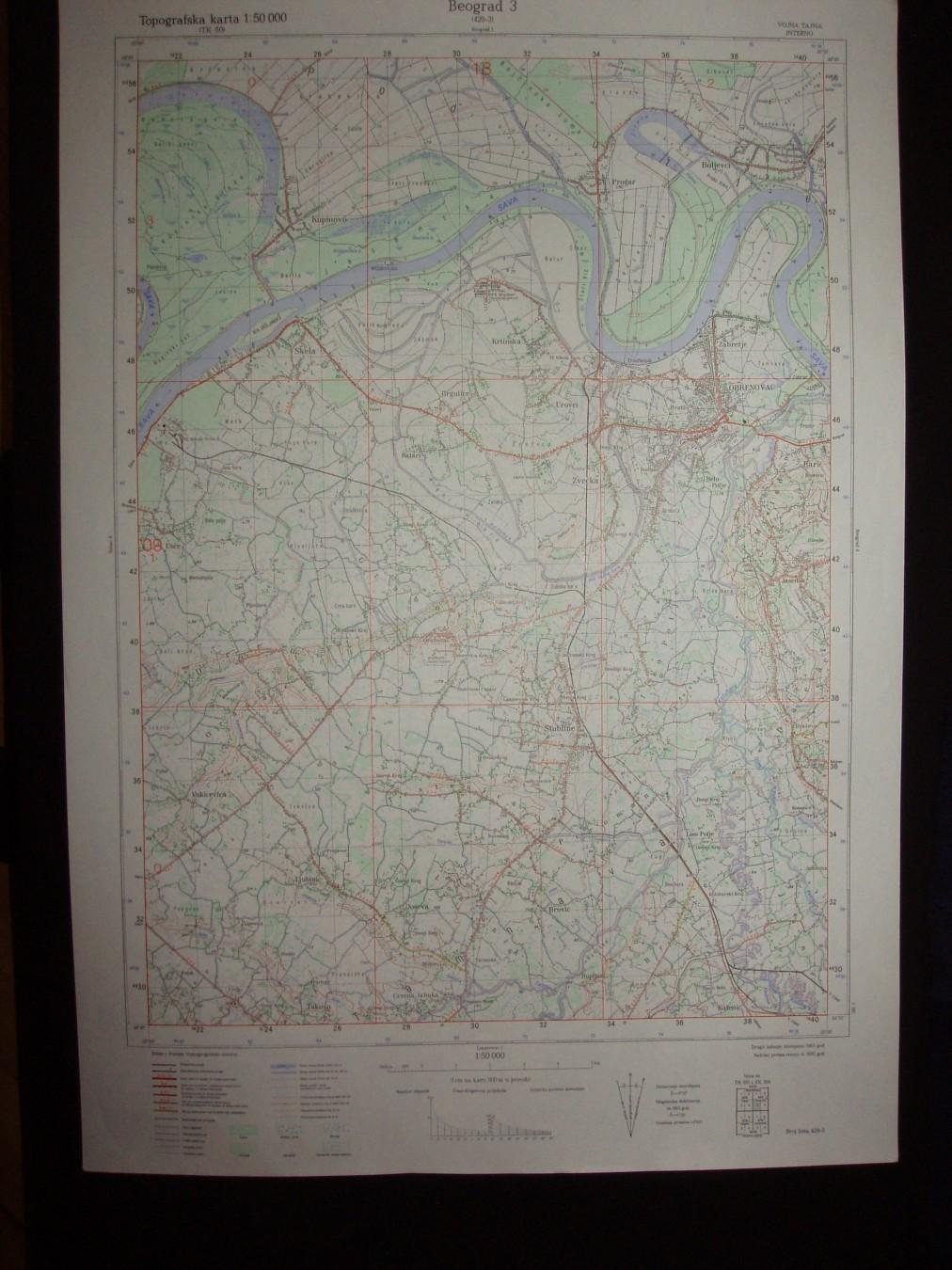 topografska karta beograda Beograd 3,topografska karta,1:50.000,429 3   Kupindo.(31701405) topografska karta beograda