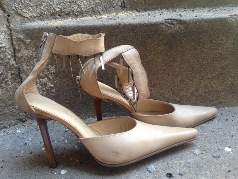 Bež italijanske cipele kožne sa štiklom br.39