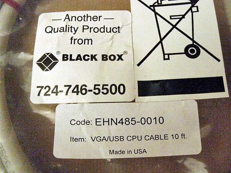 Black Box EHN485-0010 VGA/USB CPU Cable 10 ft