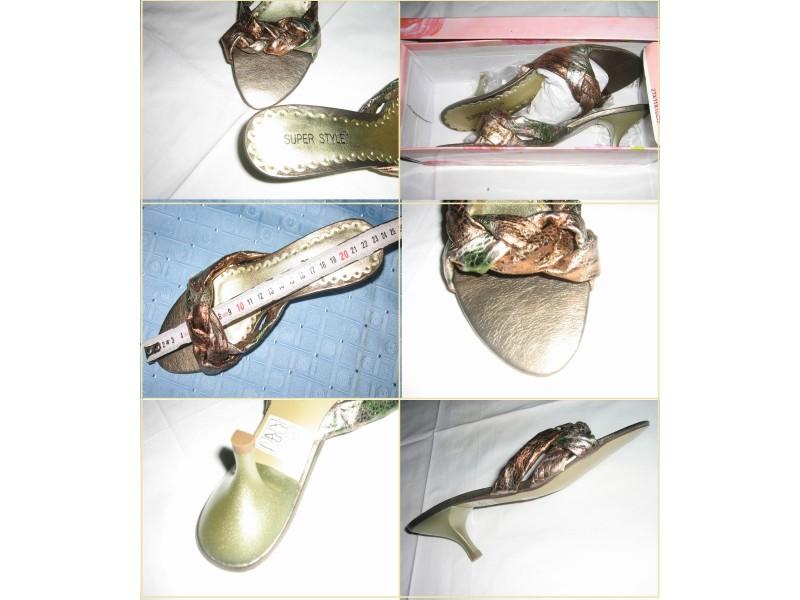 Bronza srebrne Nove papuce - mala stikla - 36/23,5cm