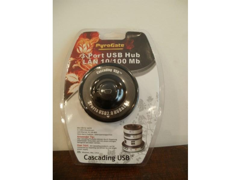 CASCADING USB HUB - 3 PORTS USB + LAN10/100 MB