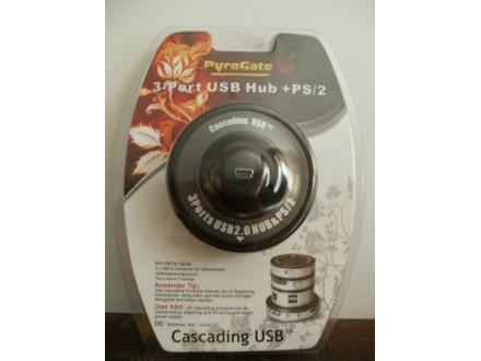 CASCADING USB HUB - 3 PORTS USB + PS/2  PYROGATE
