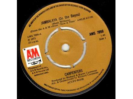 Carpenters - Jambalaya (On The Bayou)