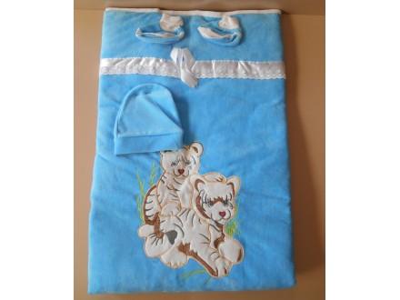Cebe plisano za bebe 3u1-Kapa,carapice,cebe,Plava,NOVO