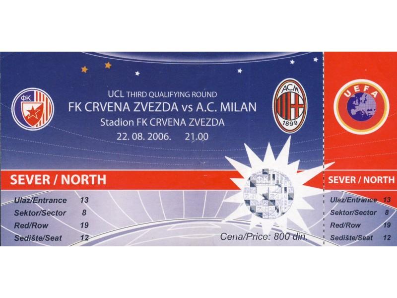 Crvena Zvezda - Milan , 2006.god. , neiskorišćena karta