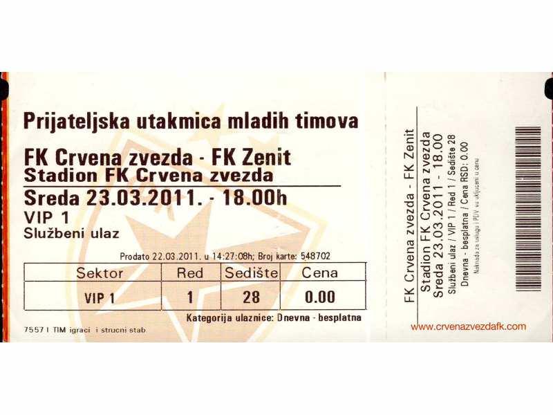 Crvena Zvezda - Zenit   ,   2011.god.   ,   RRR