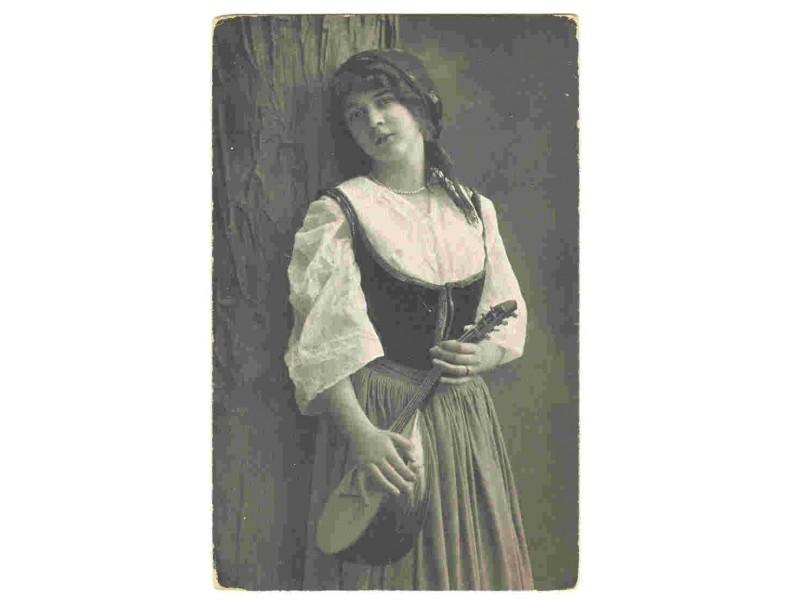Devojka sa lutnjom,cb razglednica,1927,putovala.