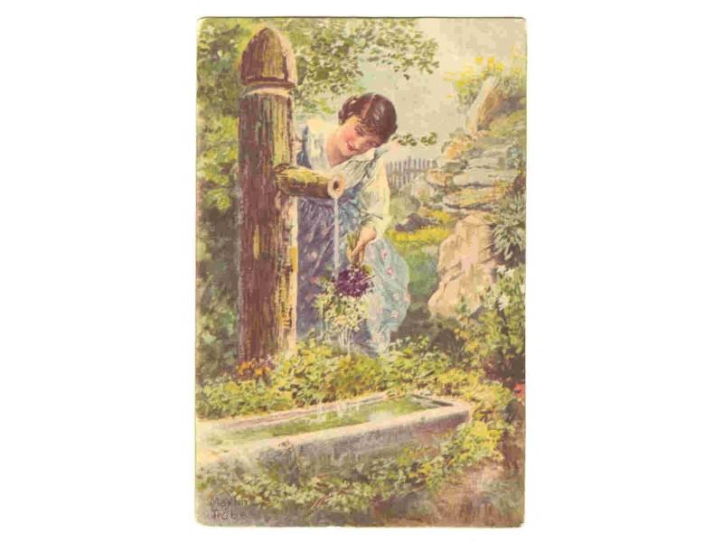 Djevojka na cesmi,color motivska razglednica,oko 1910.