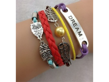 Dream Wing Owl Leather Charm Bracelet plated Silver