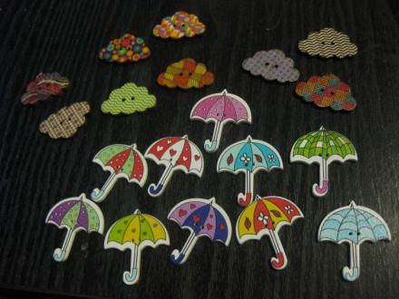 Drvena dugmenca kišobrančići