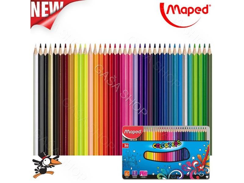 Drvene bojice Maped metalna kutija 36 kom 832056 - Novo