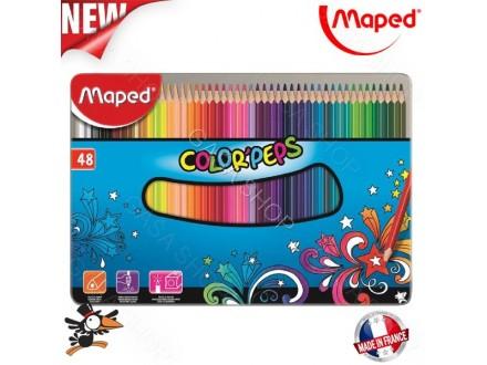 Drvene bojice Maped metalna kutija 48 kom 832058 - Novo