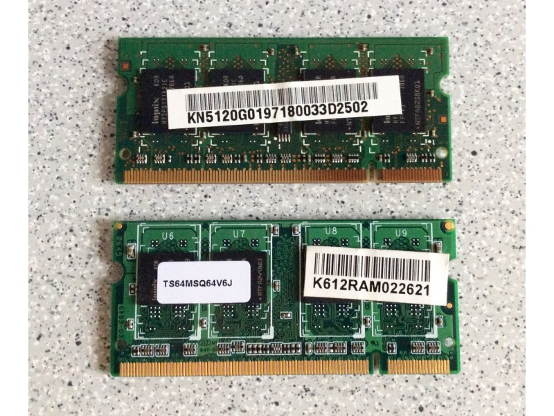 Dve RAM memorije po 512MB za laptop