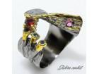 EKSKLUZIVAN srebrni prsten,GRANAT,SAFIR,prir.kamen,NOV