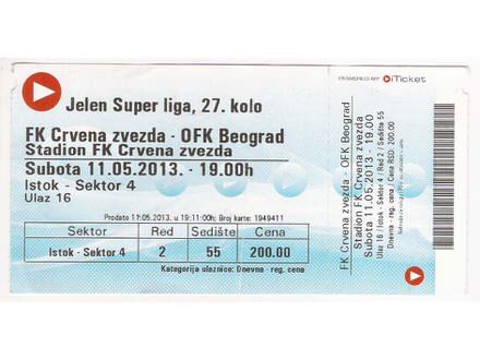 FUDBAL: CRVENA ZVEZDA  - OFK BEOGRAD 11.05.2013 - CELA