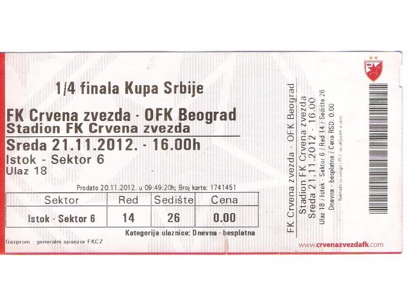 FUDBAL: CRVENA ZVEZDA - OFK BEOGRAD 21.11.2012
