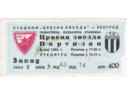 FUDBAL: CRVENA ZVEZDA - PARTIZAN 06.05.1984