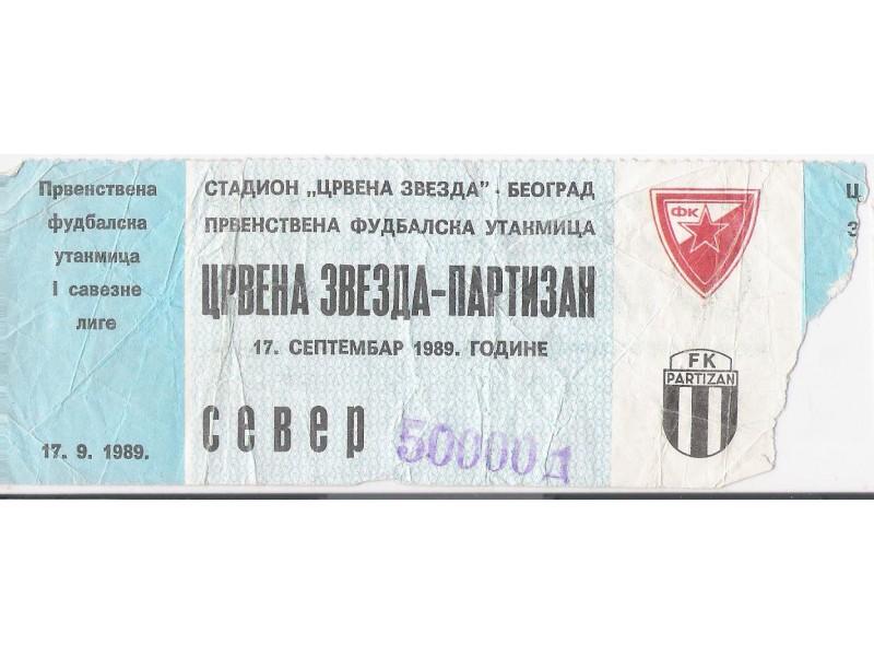 FUDBAL: CRVENA ZVEZDA - PARTIZAN 17.09.1989