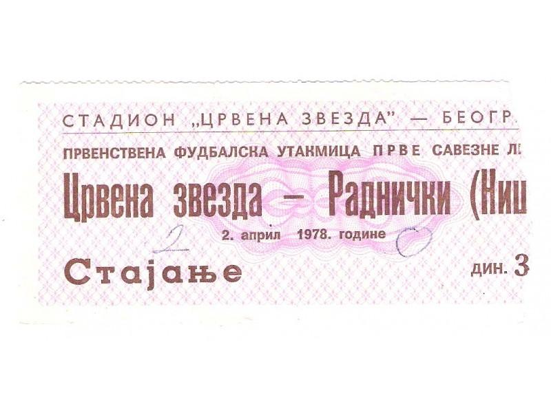 FUDBAL: CRVENA ZVEZDA - RADNICKI (Nis) 02.04.1978