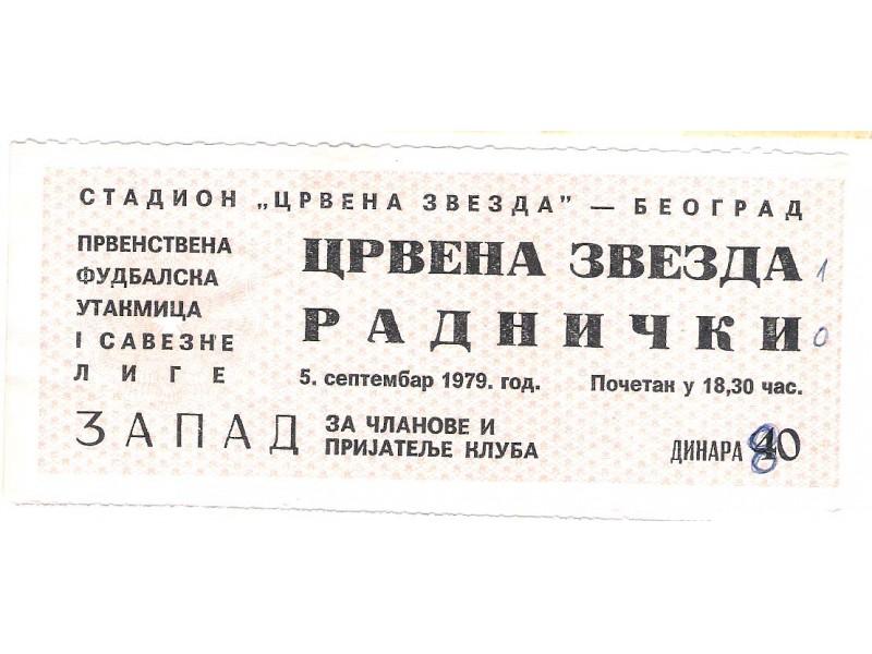FUDBAL: CRVENA ZVEZDA - RADNICKI (Nis) 05.09.1979