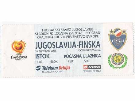 FUDBAL: JUGOSLAVIJA - FINSKA 16.10.2002