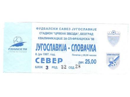 FUDBAL: JUGOSLAVIJA - SLOVACKA 08.06.1997