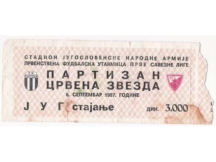 FUDBAL: PARTIZAN - CRVENA ZVEZDA 06.09.1987