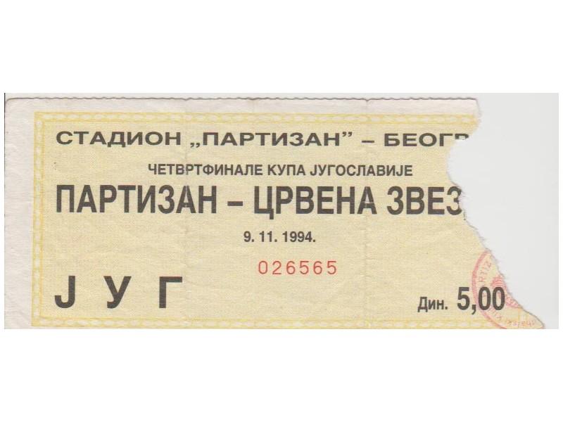 FUDBAL: PARTIZAN - CRVENA ZVEZDA 09.11.1994