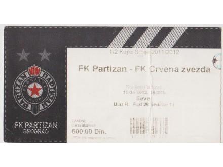 FUDBAL: PARTIZAN - CRVENA ZVEZDA 11.04.2012