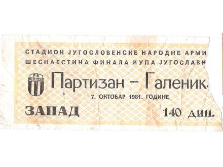 FUDBAL: PARTIZAN - GALENIKA 07.10.1981