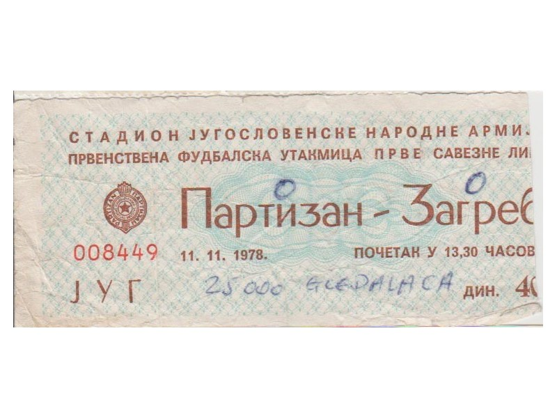 FUDBAL: PARTIZAN - ZAGREB 11.11.1978