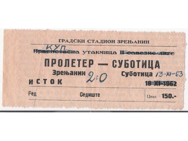 FUDBAL: PROLETER (Zr) - SUBOTICA 13.11.1963