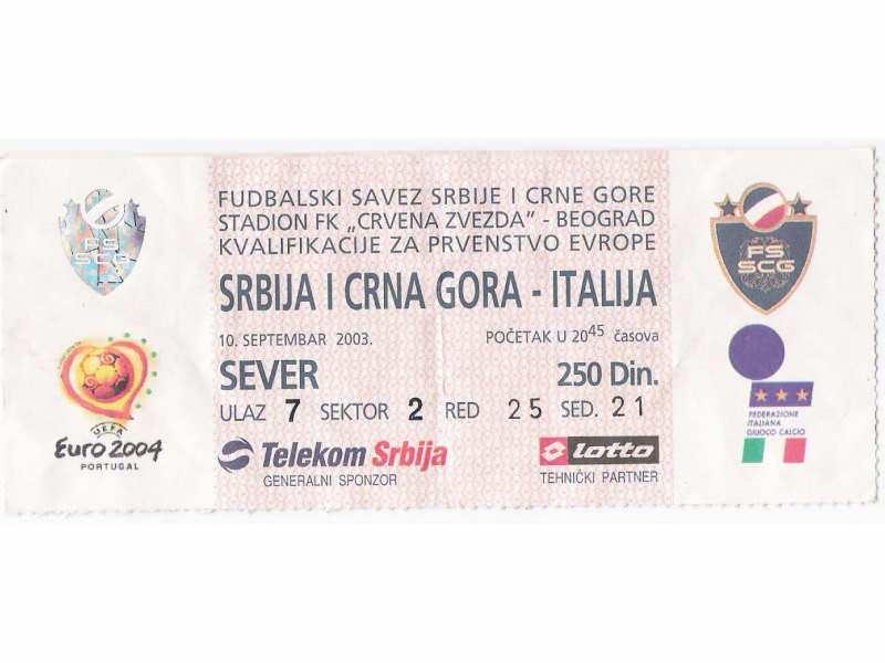 FUDBAL: SRBIJA I CRNA GORA - ITALIJA 10.09.2003