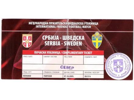 FUDBAL: SRBIJA - SVEDSKA 01.04.2009 - POZIVNICA