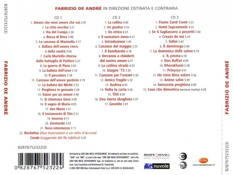 Fabrizio De André -  In Direzione Ostinata E Contraria  3xCD