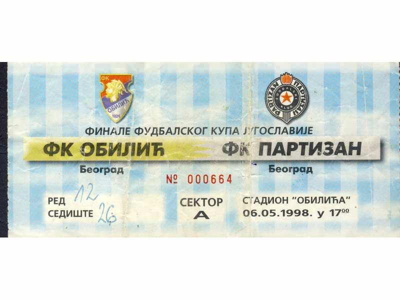 Finale kupa 1998.god. , Obilić - Partizan    RRRRR