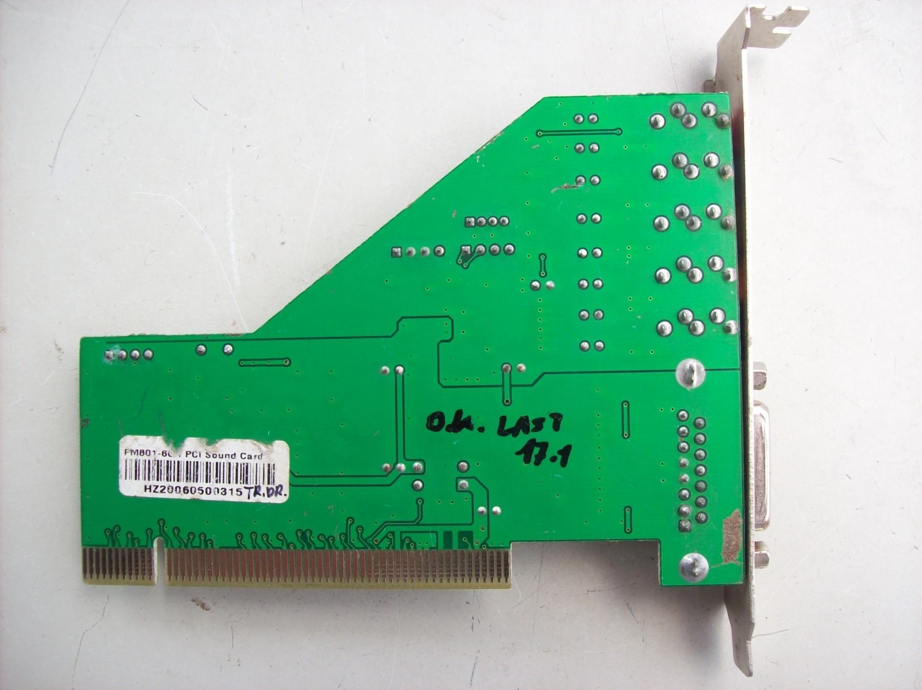NEW DRIVER: FORTEMEDIA FM801-AU 4-CHANNEL PCI SOUND CARD