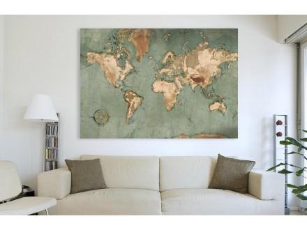 Geco art poster na medijapanu Karta sveta