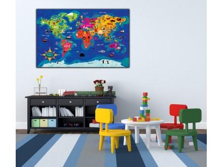 Geco art poster na medijapanu Mapa sveta
