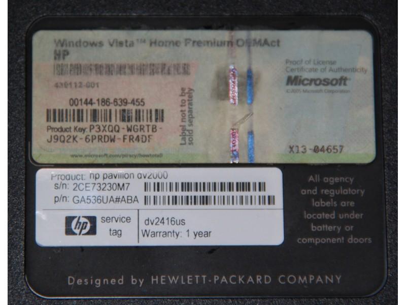 HP Pavilion DV2000 donji deo kućišta - korito