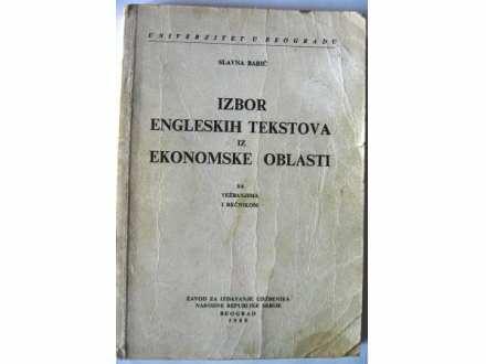IZBOR ENGLESKIH TEKSTOVA iz EKONOMSKE OBLASTI Slavka Ba