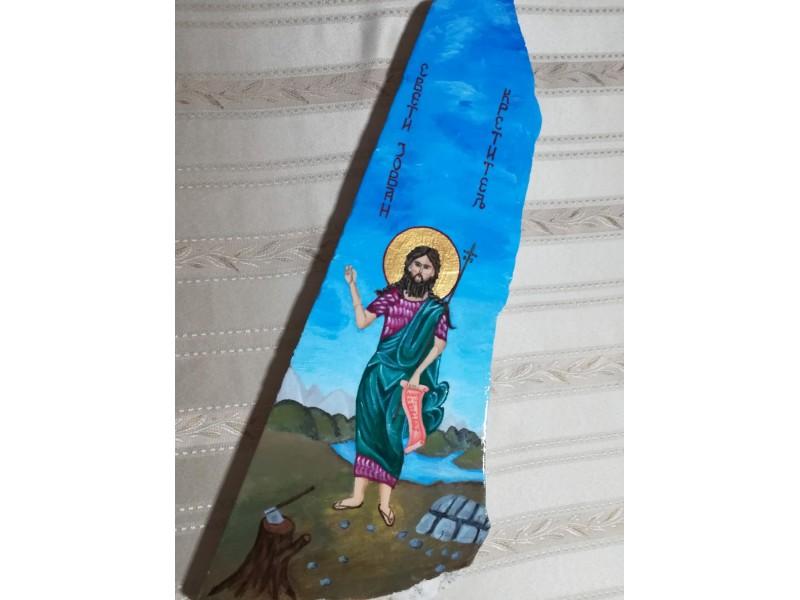 Ikonopisana ikona Svetog Jovana na mermeru
