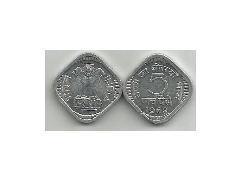 India 5 paisa 1968. UNC/AUNC